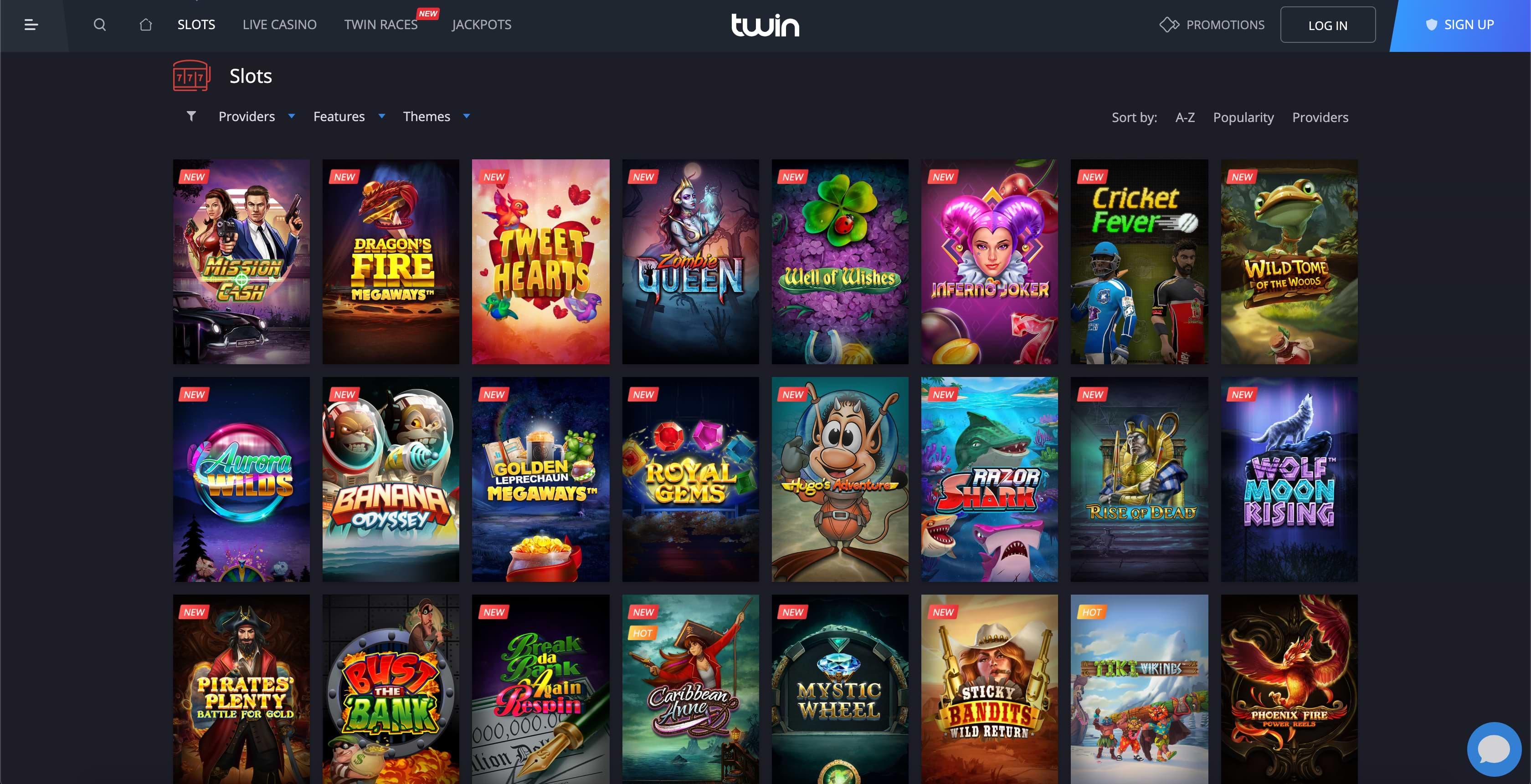 Twin Casino Game Catalogue Screenshot